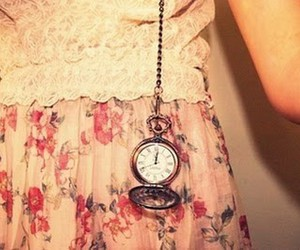 clock, vintage, and flowers image