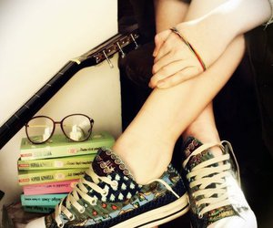 book, converse, and glasses image