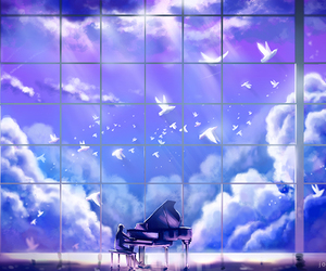 piano, beautiful, and birds image