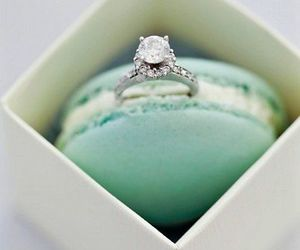 ring, macaroons, and wedding image