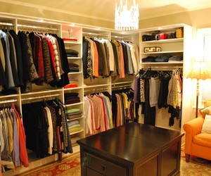 walk in closet, closet light, and walk in closet design image