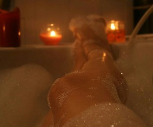 bubblebath, candles, and soothing image