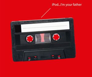 ipod, cassette, and funny image