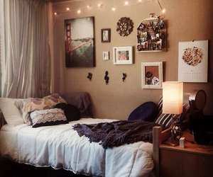 bedroom, creamy, and dorm image