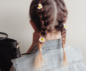 hair, flowers, and alternative image
