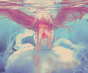 anime, water, and anime girl image