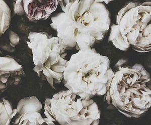 beautiful, black and white, and floral image