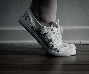 black and white and sneaker image