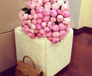 flowers, pink, and bag image