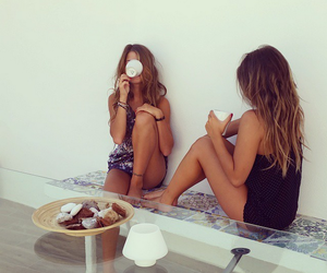 friends, girl, and coffee image
