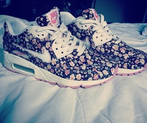flowers, nike, and airmax image