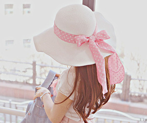 pink, hat, and girl image