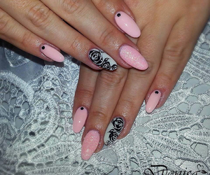 flower, glitter, and nails image