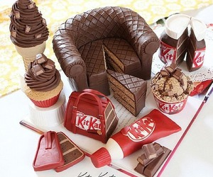 chocolate, food, and kitkat image