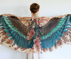 wings, feather, and scarf image