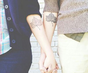 tattoo, couple, and leaves image