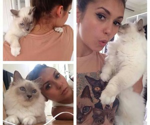 Nina Dobrev, cat, and the vampire diaries image