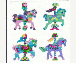glitter, merry go round, and pony image