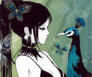 anime, peacock, and anime girl image