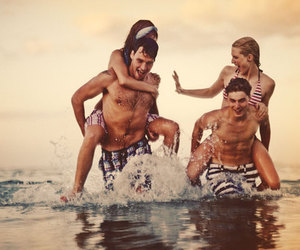 beach, couples, and sun image