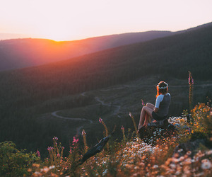 girl, landscape, and flowers image