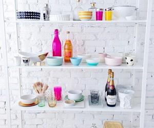bottles, colorful, and dishes image