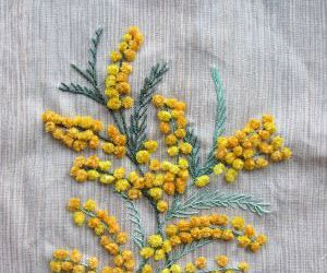 fabric, flowers, and mimosa image