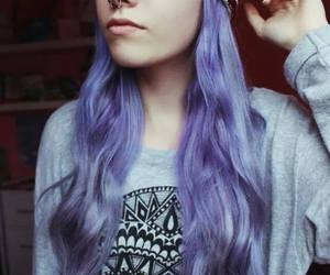 piercing and purple hair image