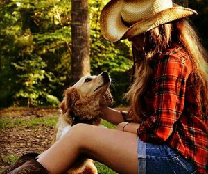 AJ, Cowgirl, and dog image