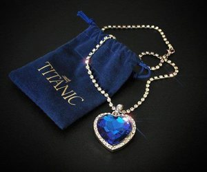 titanic, blue, and necklace image