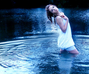girl, water, and white dress image