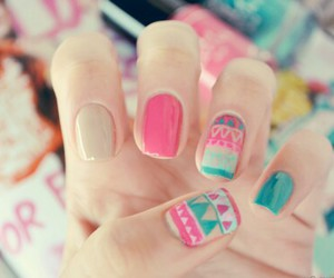 nails, pink, and blue image