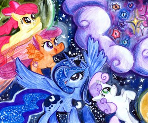 MLP, princess luna, and cutie mark crusaders image