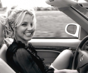 britney spears, car, and black and white image
