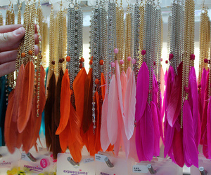 feather, pink, and earrings image