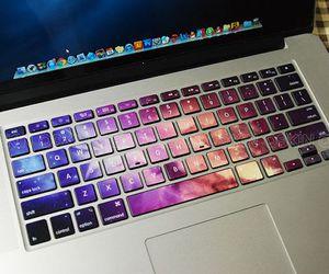 galaxy, keyboard, and laptop image
