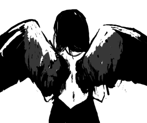 anime, black and white, and angel image