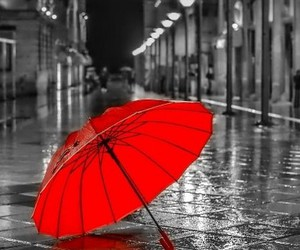 red, rain, and umbrella image