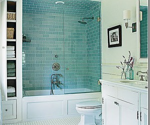 subway tile, glass subway tiles, and subway tile bathroom image