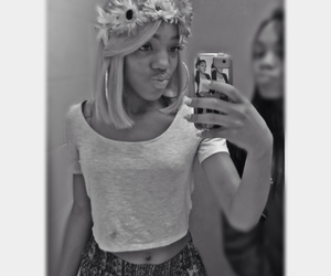 black and white, blonde, and teen image
