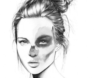 art, black and white, and girl image