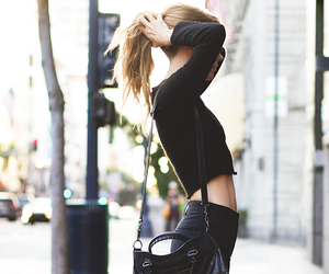 crop top, edgy style, and black jean image