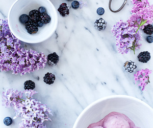 purple, fruit, and flowers image