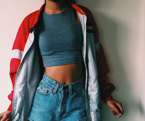 denim, style, and crop top image