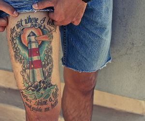 tattoo, lighthouse, and boy image