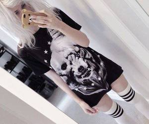 lion, t-shirt, and white hair image