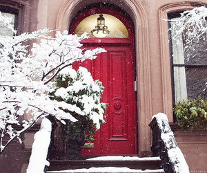 house, snow, and street image