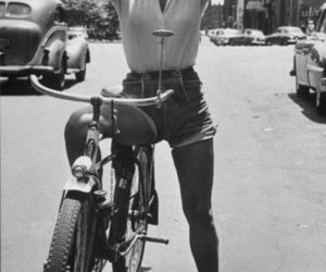 eartha kitt, bike, and black and white image