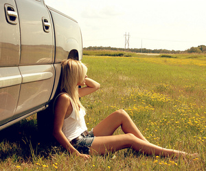 girl, blonde, and car image