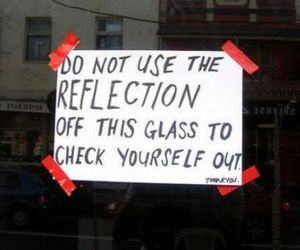 funny, glass, and reflection image